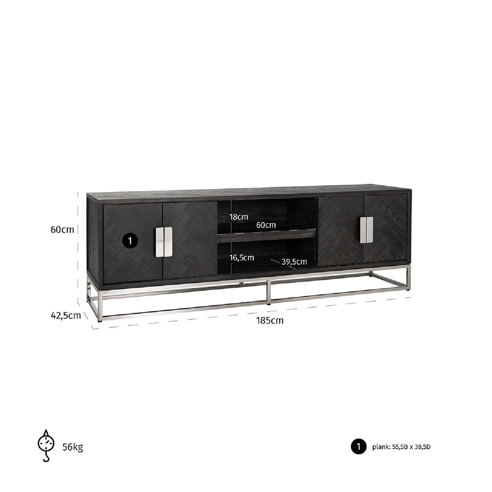 Meuble TV 185 Blackbone silver 4-portes Meuble Déco Tendance - 785