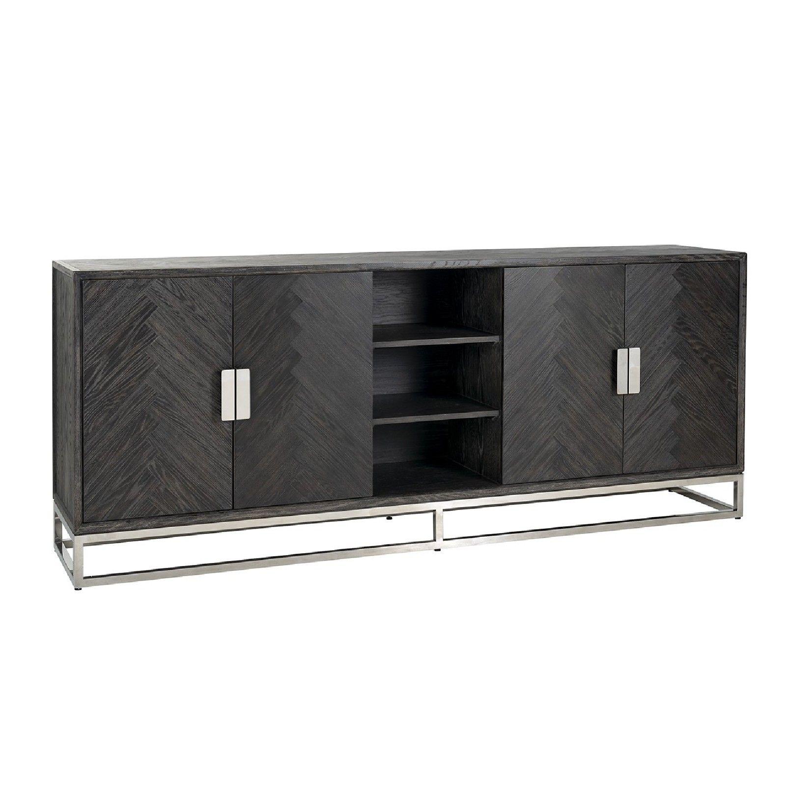 Bahut Blackbone silver 4-portes + espace ouvert Meuble Déco Tendance - 45