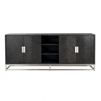 Bahut Blackbone silver 4-portes + espace ouvert Meuble Déco Tendance - 491