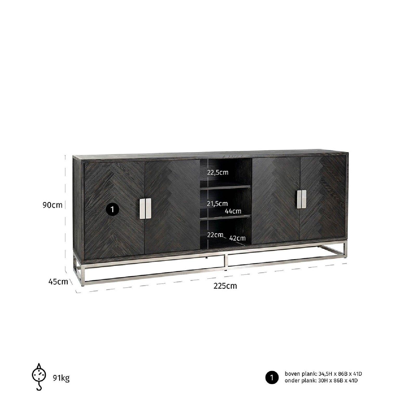 Bahut Blackbone silver 4-portes + espace ouvert Meuble Déco Tendance - 661