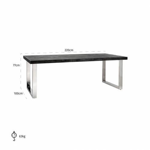 Table à dîner Blackbone silver 220 Meuble Déco Tendance - 692
