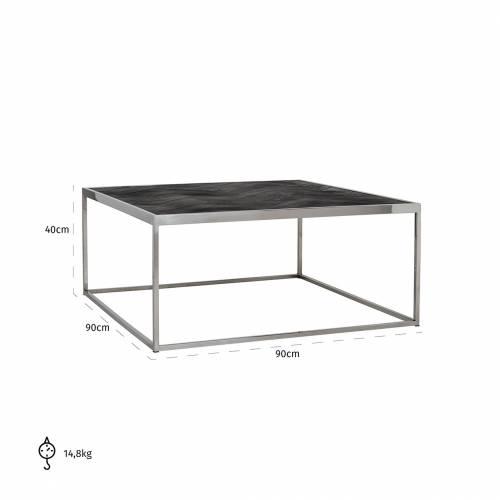 Table de salon Blackbone silver 90x90 Tables basses rectangulaires - 697