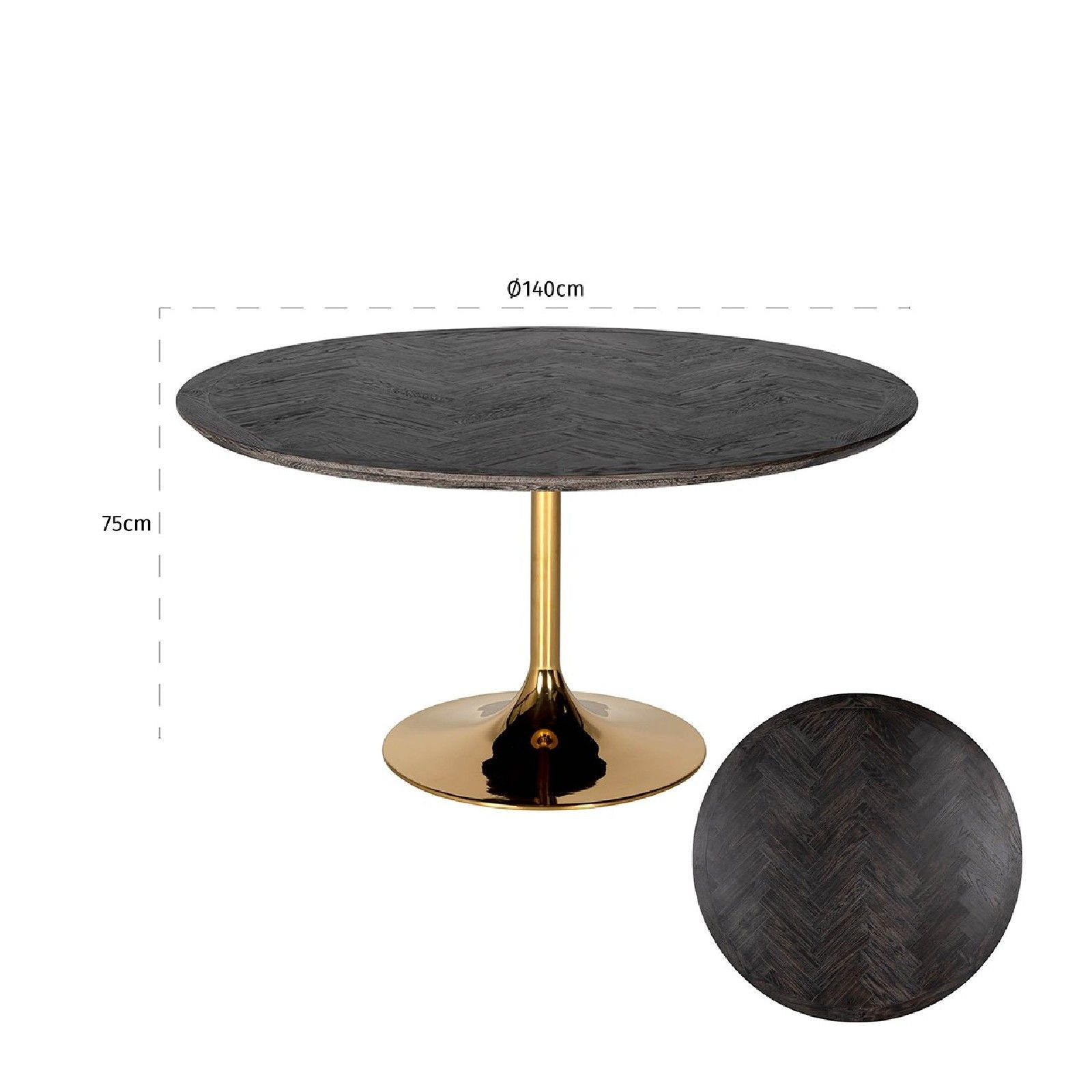 Table à dîner Blackbone gold Ø140 Meuble Déco Tendance - 521