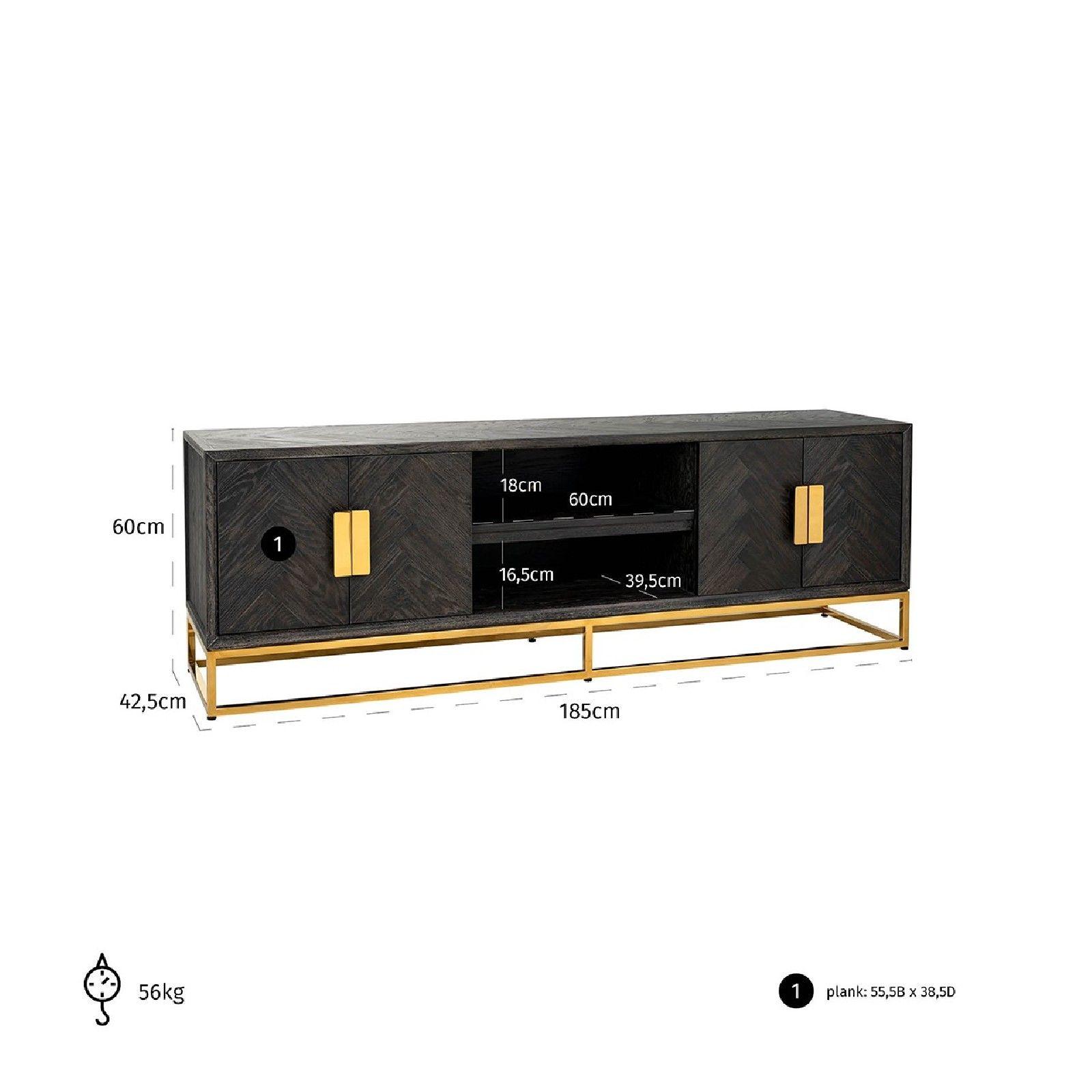 Meuble TV 185 Blackbone gold 4-portes Meuble Déco Tendance - 677