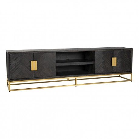 Meuble TV 220 Blackbone gold 4-portes