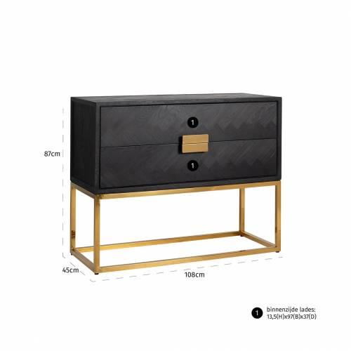 Commode Blackbone gold avec 2-tiroirs Meuble Déco Tendance - 646