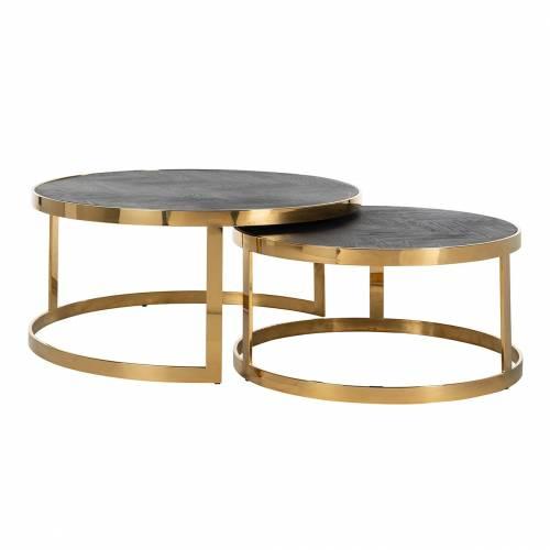 Table de salon Blackbone gold set de 2 rond Tables basses rectangulaires - 71