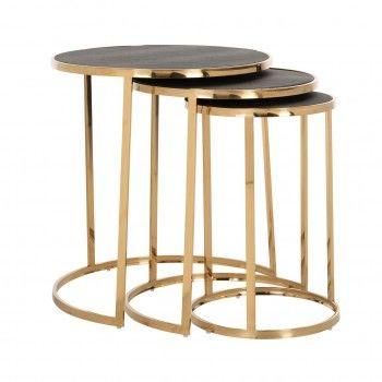 Table d'angle Calesta set de 3 rond shagreen look Meuble Déco Tendance - 189