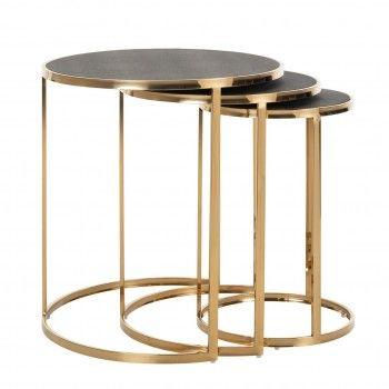 Table d'angle Calesta set de 3 rond shagreen look Meuble Déco Tendance - 441