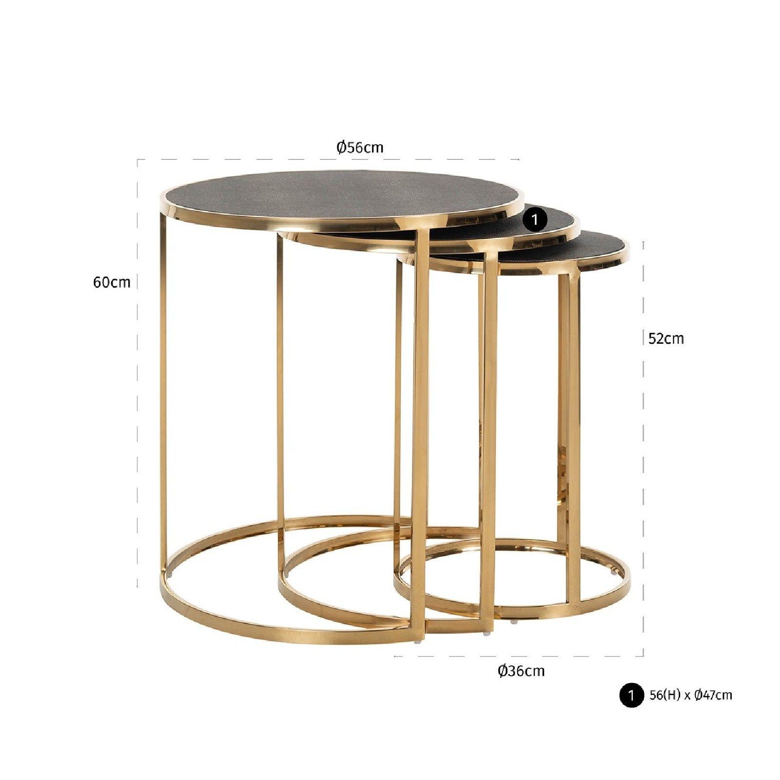 Table d'angle Calesta set de 3 rond shagreen look Meuble Déco Tendance - 629