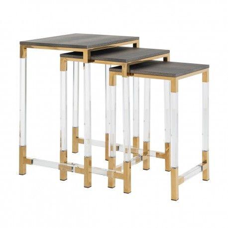 Table d'angle Calesta set de 3 shagreen look