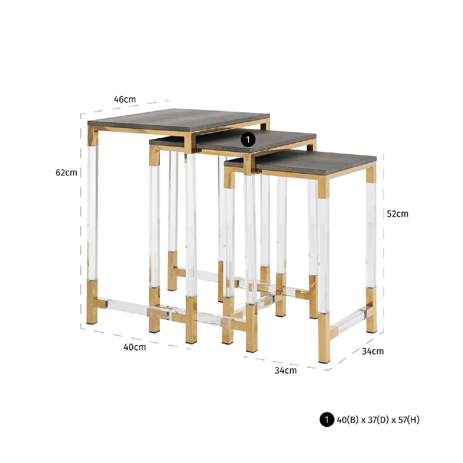 Table d'angle Calesta set de 3 shagreen look Meuble Déco Tendance - 555