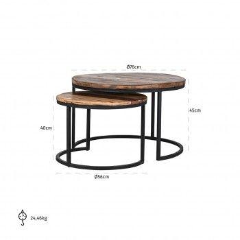 Table de salon Brooke set of 2 Tables basses rondes - 115