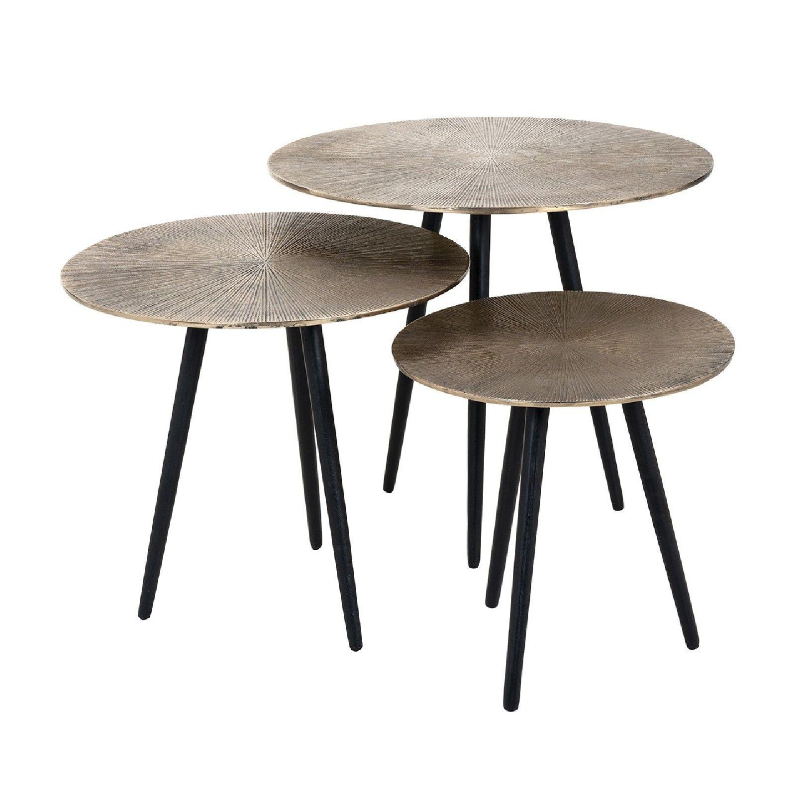 Table de salon Set de 3 Vittorio champagne or Tables basses rondes - 49