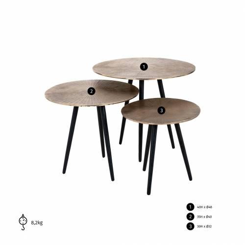 Table de salon Set de 3 Vittorio champagne or Tables basses rondes - 125