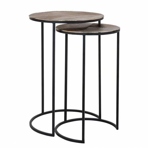 Table d'angle Lohan set de 2 en or Meuble Déco Tendance - 204