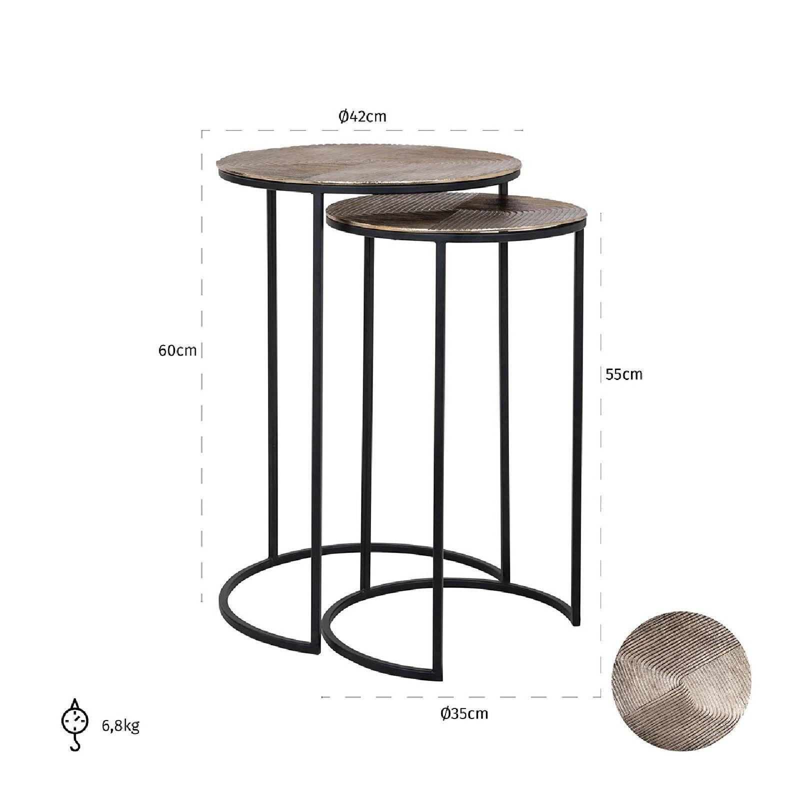Table d'angle Lohan set de 2 en or Meuble Déco Tendance - 454