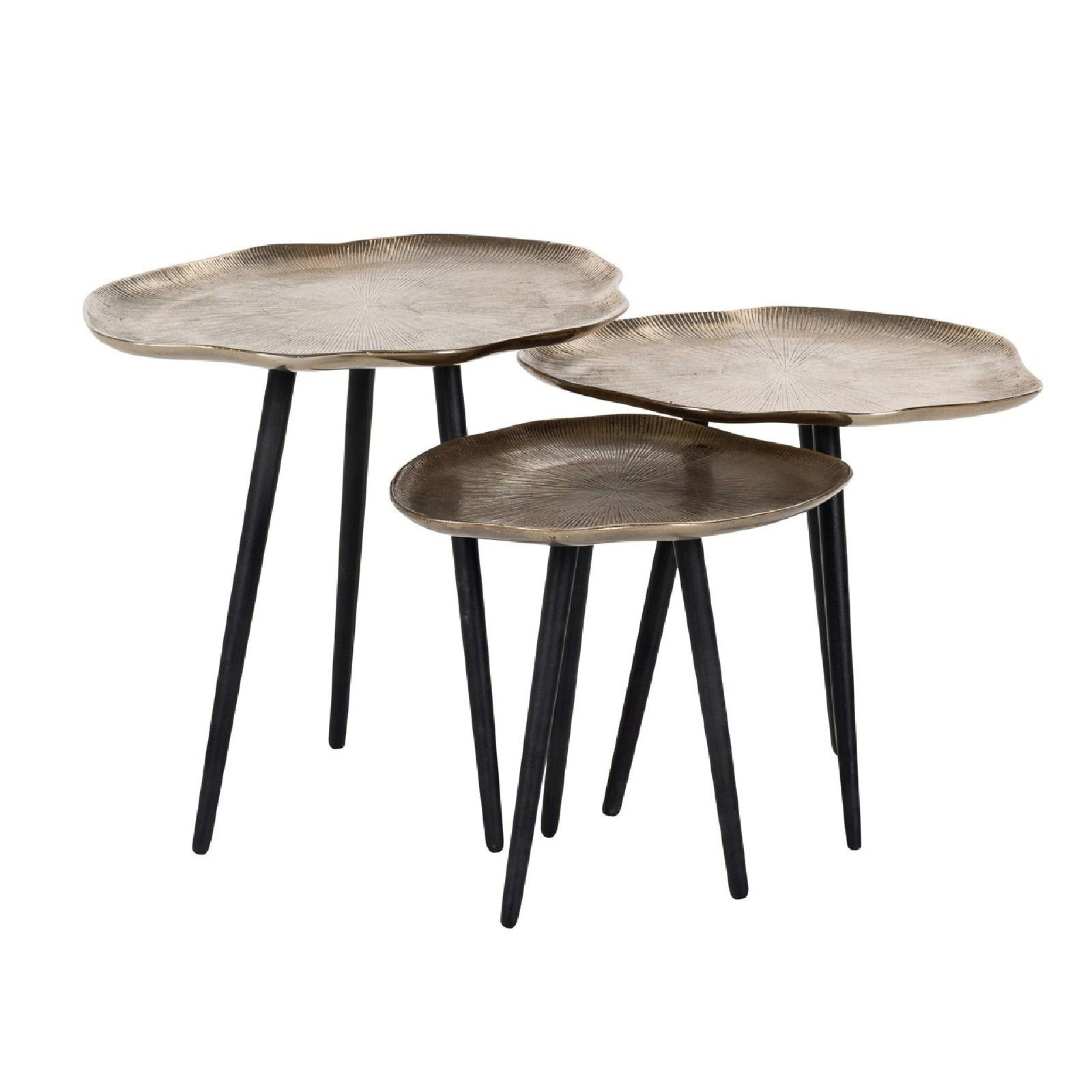 Table de salon Volenta Set de 3 champagne or Tables basses rondes - 61