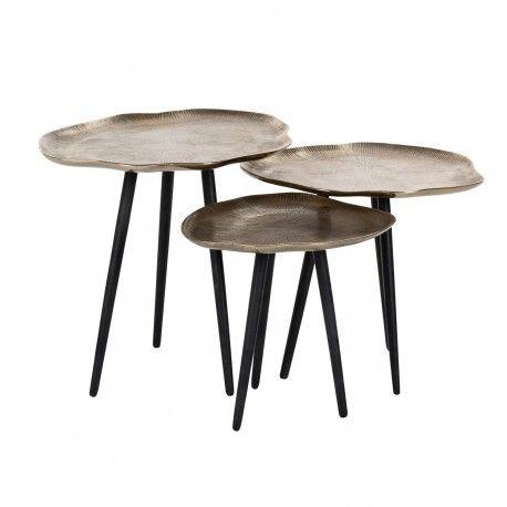 Table de salon Volenta Set de 3 champagne or