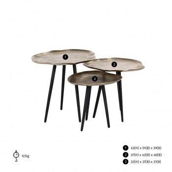 Table de salon Volenta Set de 3 champagne or Tables basses rondes - 131