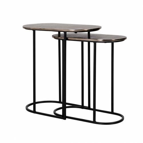 Table d'angle Chandon set de 2 ovale Meuble Déco Tendance - 197