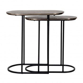 Table d'angle Chandon set de 2 ovale Meuble Déco Tendance - 634