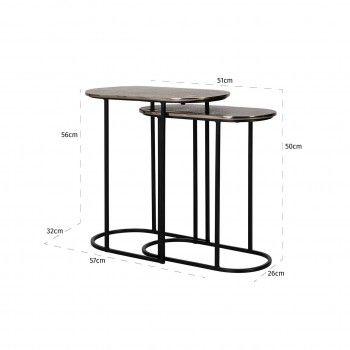 Table d'angle Chandon set de 2 ovale Meuble Déco Tendance - 754