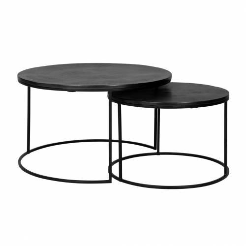 Table de salon Bolder set de 2 aluminium noir Tables basses rectangulaires - 162