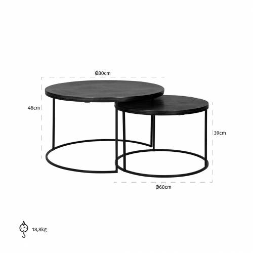 Table de salon Bolder set de 2 aluminium noir Tables basses rectangulaires - 167