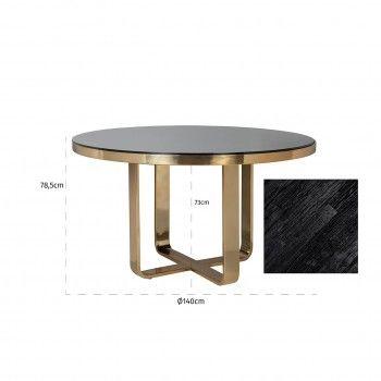Table à dîner Vendôme round 140Ø incl. verre Meuble Déco Tendance - 106