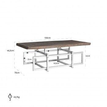 Table de salon TuxedoBord du plateau de table peut varier par article, produit naturel Tables basses rectangulaires - 69