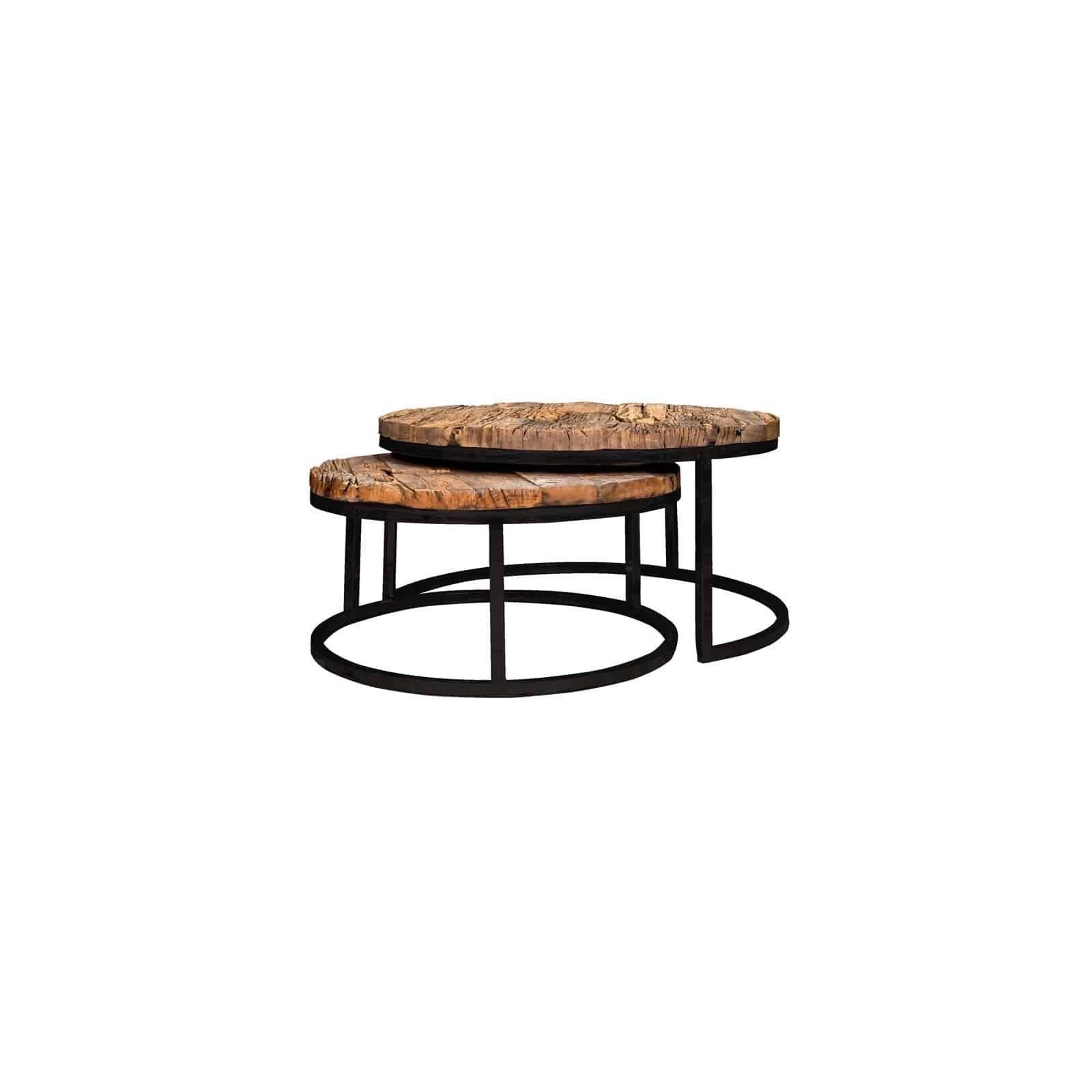 Table de salon Industrial Kensington set de 2 rond Tables basses rondes - 1