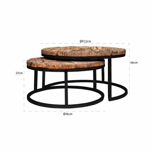 Table de salon Industrial Kensington set de 2 rond Tables basses rondes - 2