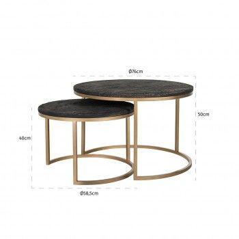 Table de salon Belfort set de 2 rond Tables basses rondes - 53