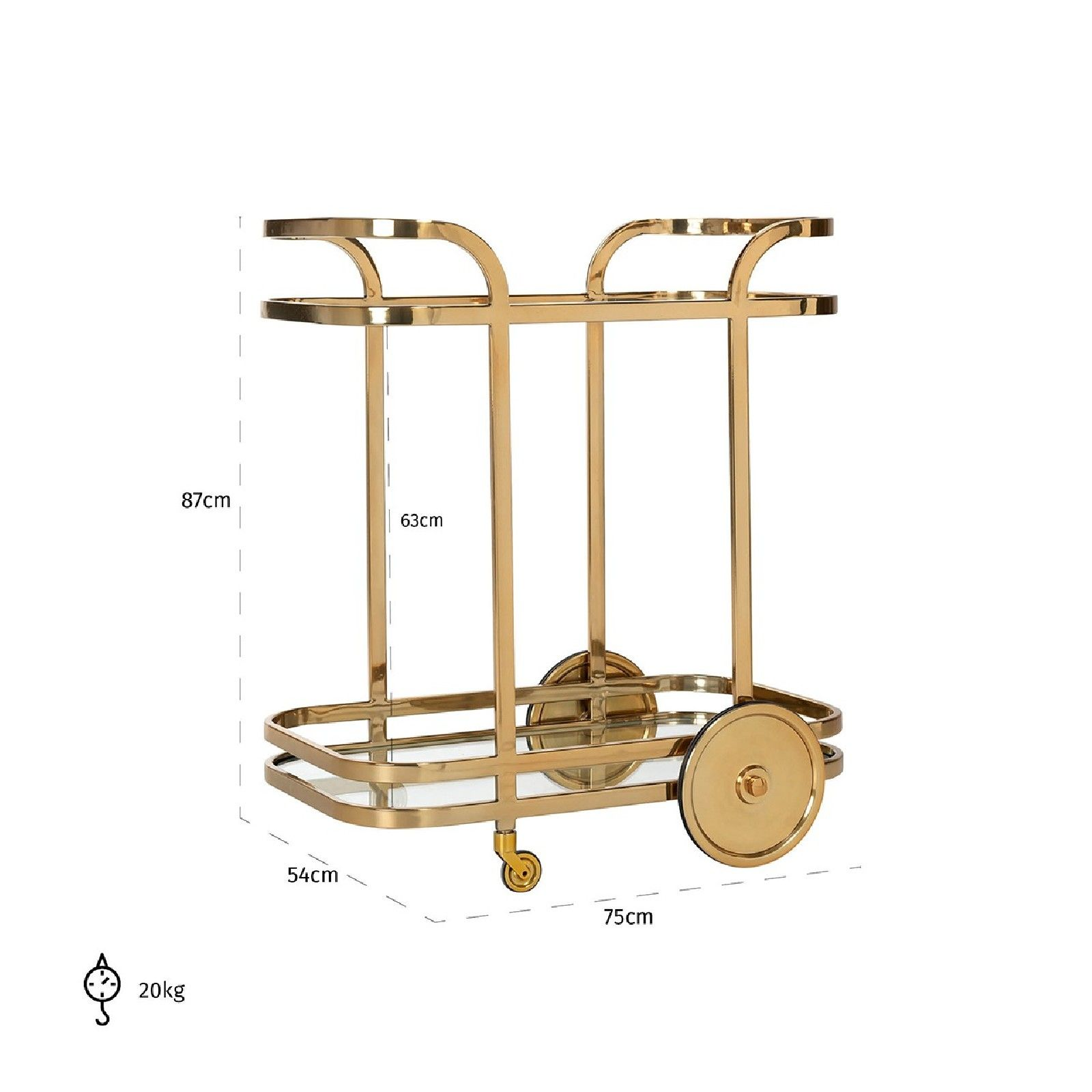 Trolley X.O. gold  avec verre Meuble Déco Tendance - 141