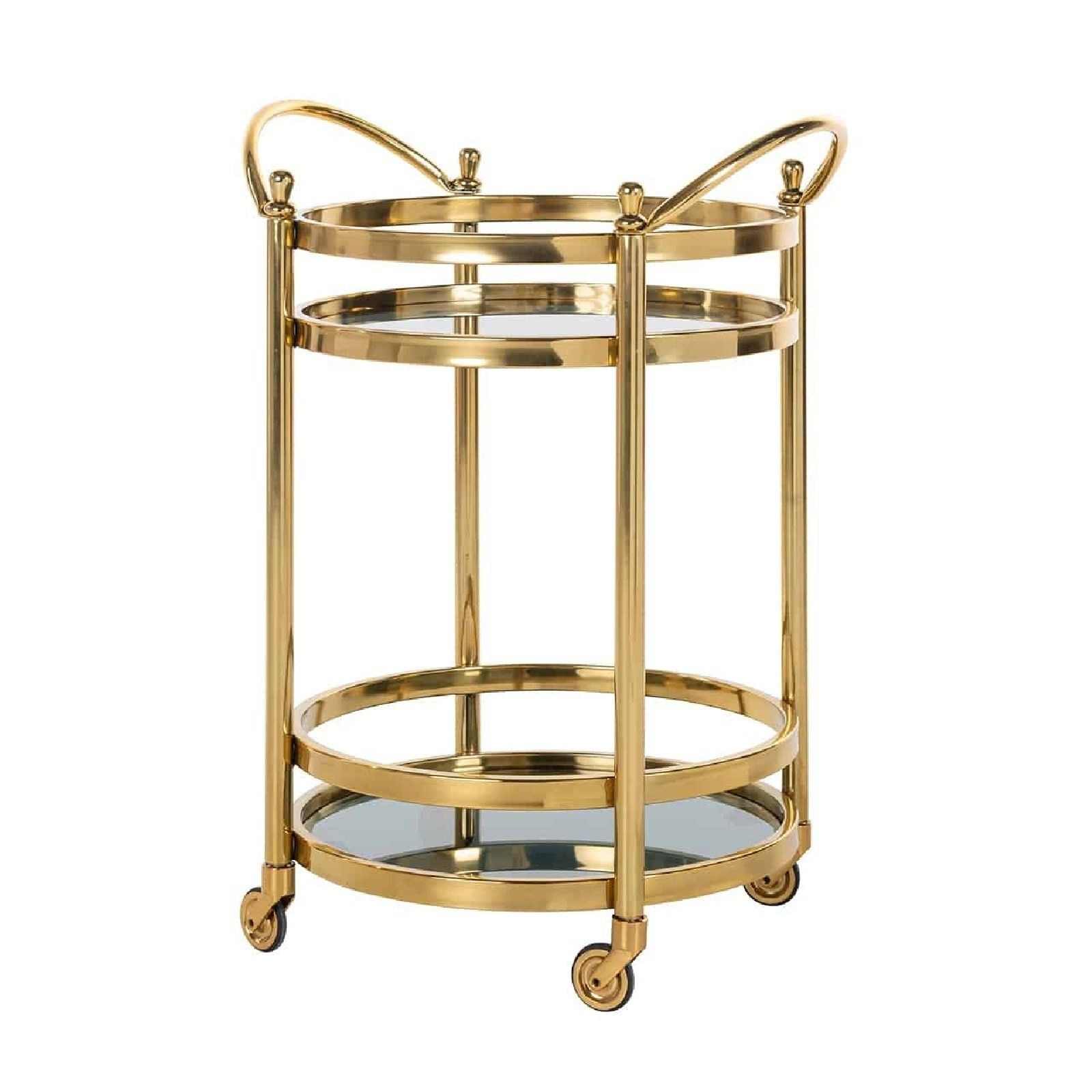 Trolley Hendricks rond dorée avec verre Meuble Déco Tendance - 45