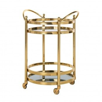 Trolley Hendricks rond dorée avec verre Meuble Déco Tendance - 77