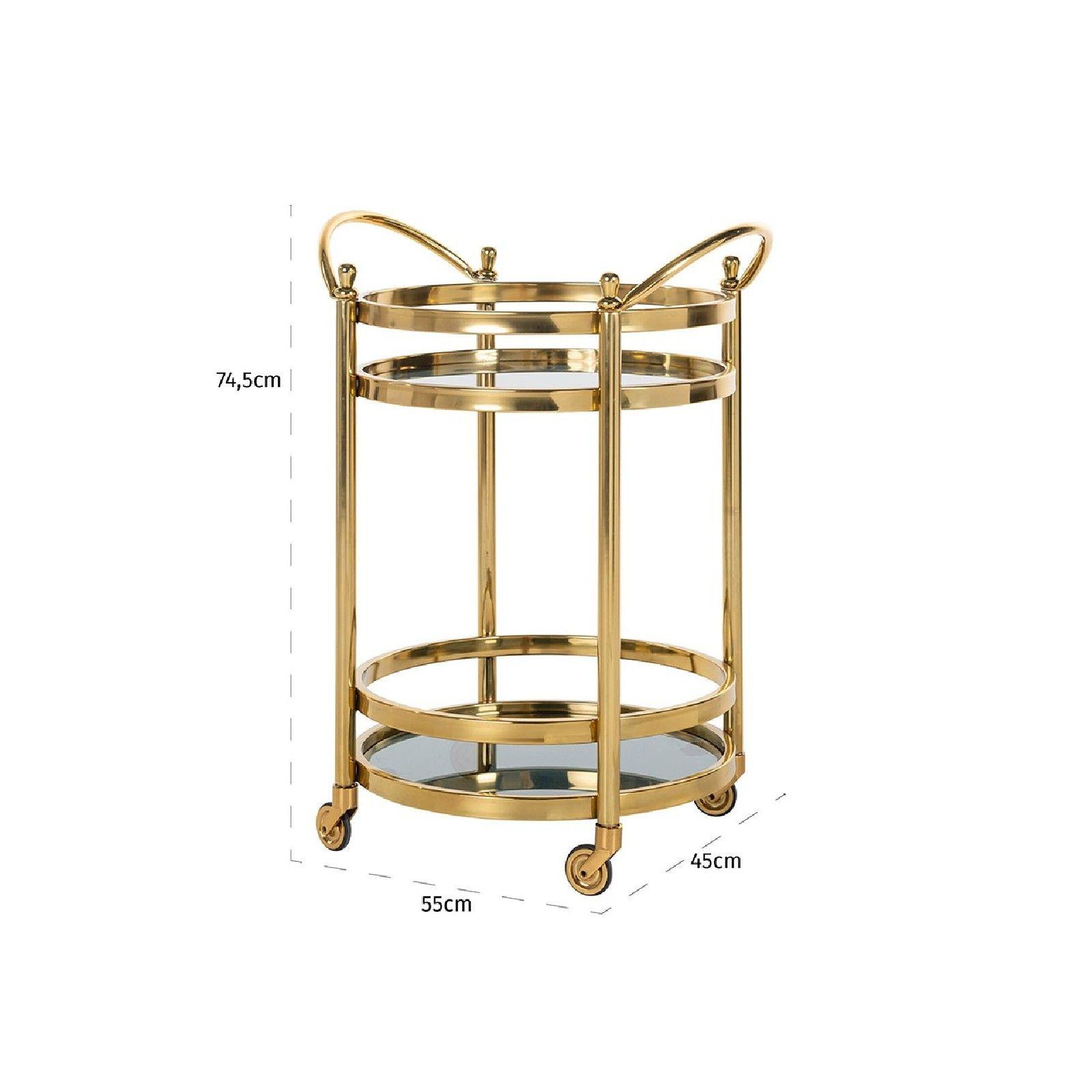 Trolley Hendricks rond dorée avec verre Meuble Déco Tendance - 122
