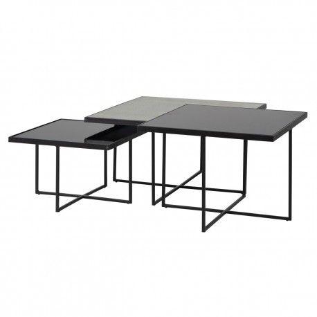 Table de salon Chester set de 3 carrée