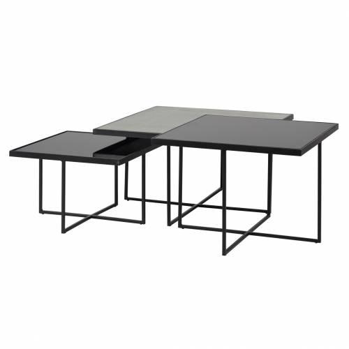 Table de salon Chester set de 3 carrée Tables basses carrées - 7