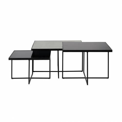 Table de salon Chester set de 3 carrée Tables basses carrées - 44