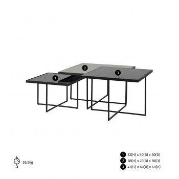 Table de salon Chester set de 3 carrée Tables basses carrées - 64