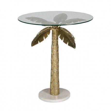 Table d'angle Palm avec du verre