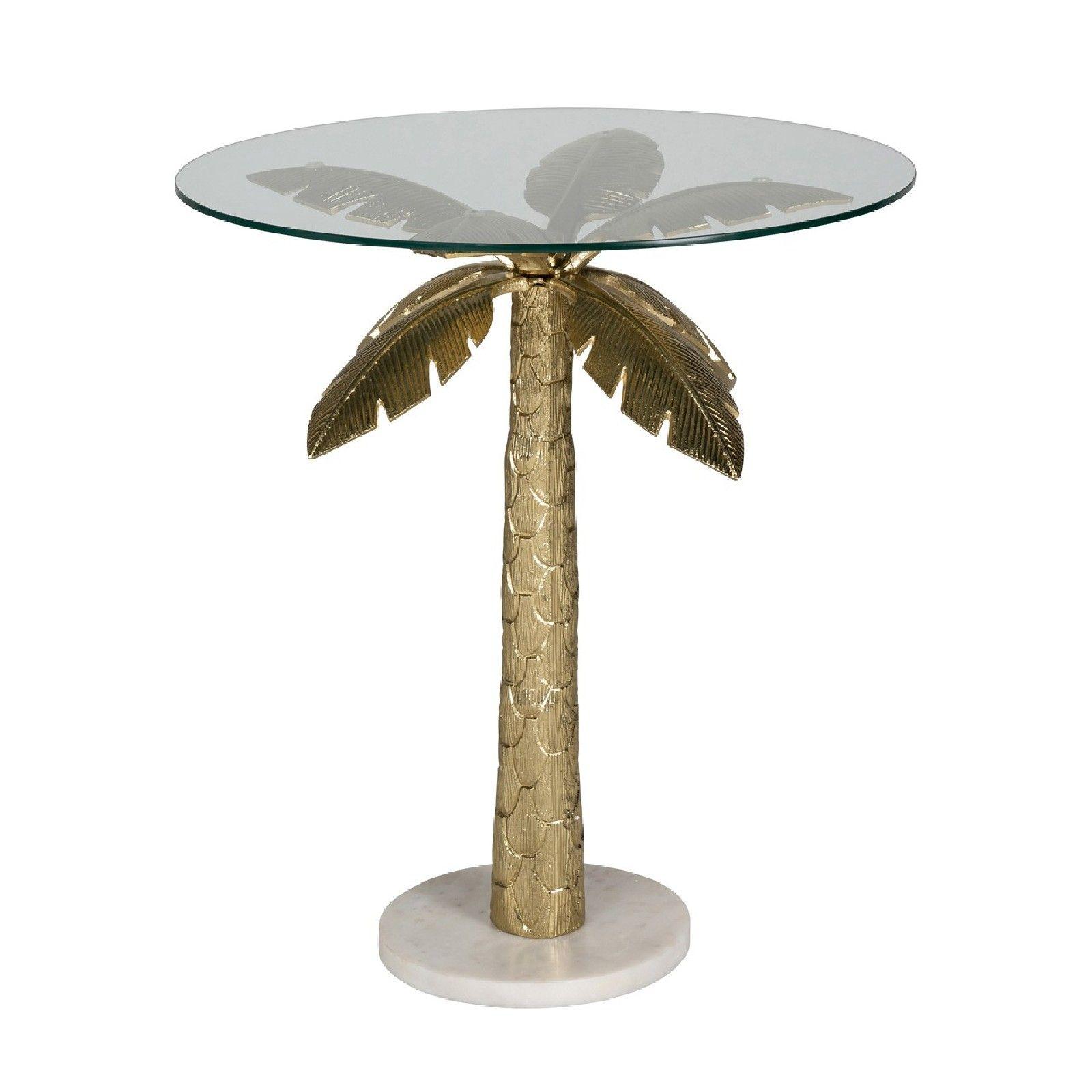Table d'angle Palm avec du verre Meuble Déco Tendance - 65