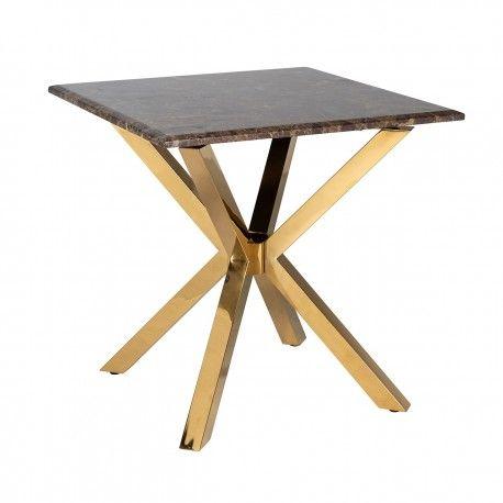Table d'angle Conrad faux emperador marbre