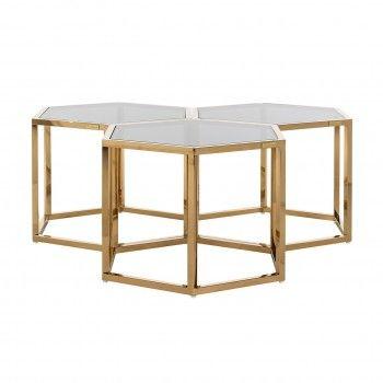 Table de salon Penta set de 3 hexagone dorée Tables basses rondes - 25