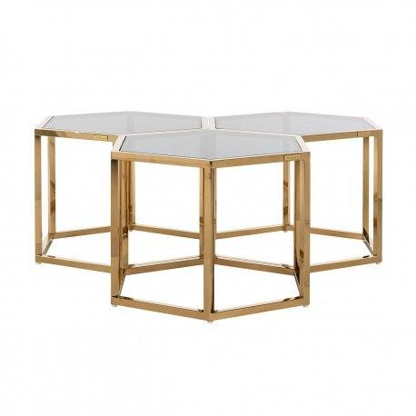 Table de salon Penta set de 3 hexagone dorée