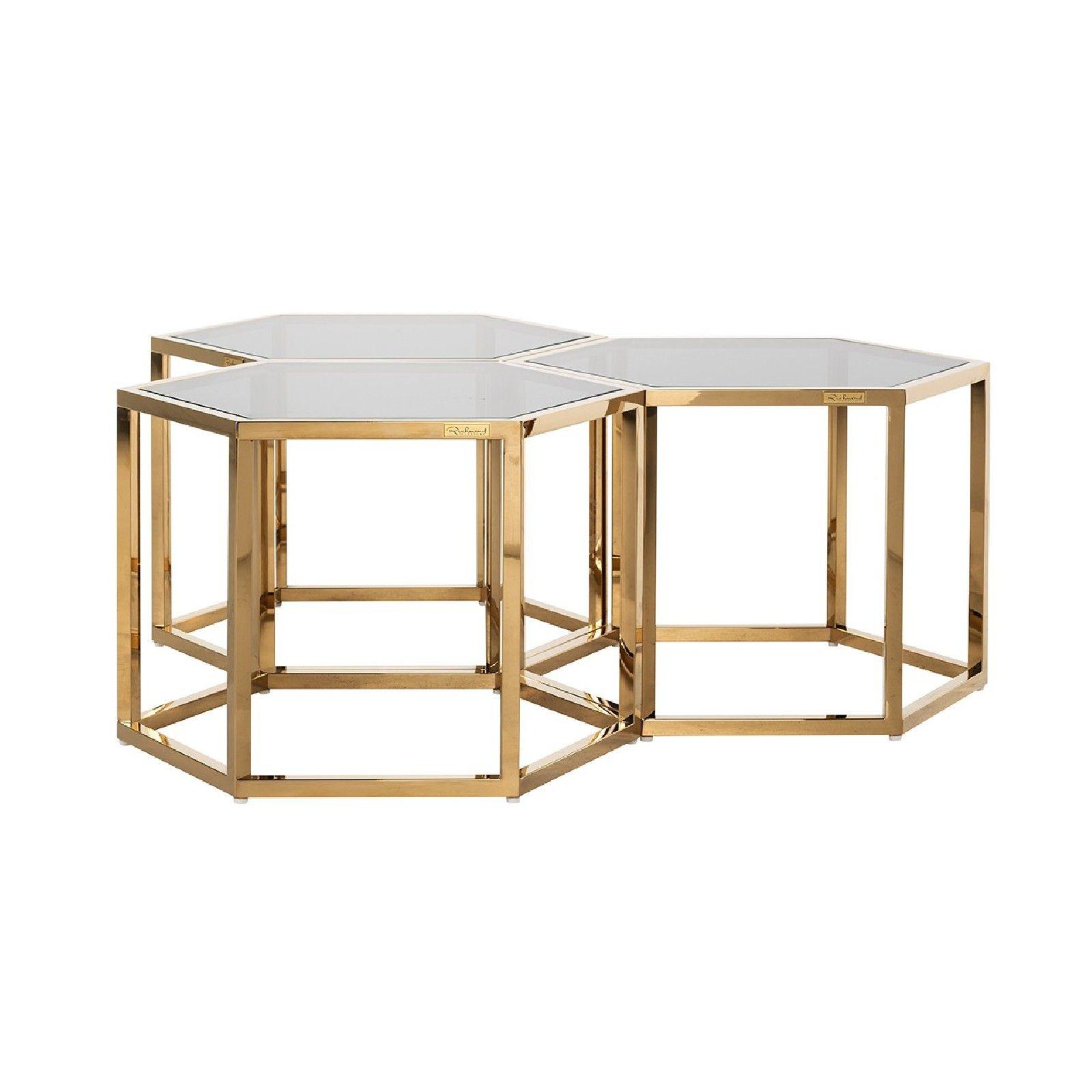 Table de salon Penta set de 3 hexagone dorée Tables basses rondes - 33