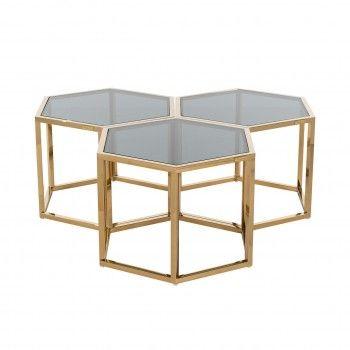 Table de salon Penta set de 3 hexagone dorée Tables basses rondes - 57