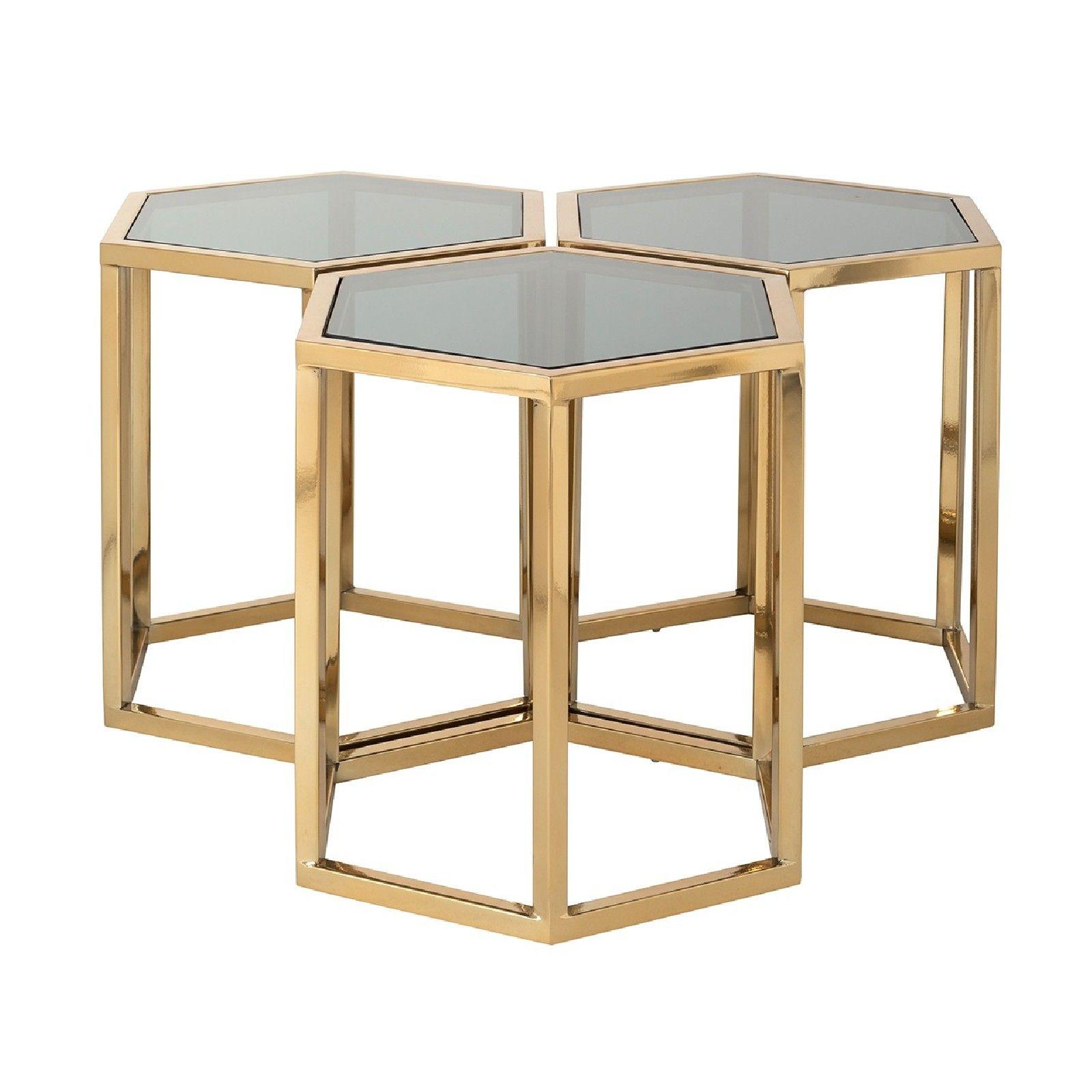 Table de salon Penta set de 3 hexagone dorée Tables basses rondes - 73